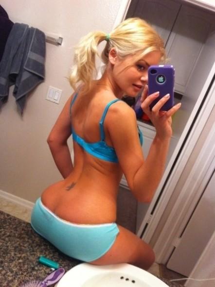 Hot Blonde bathroom mirror selfshot