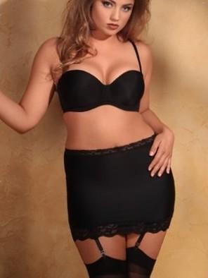 "Plus Size Lingerie | Plus Size Shapewear | 11"" Shaper Skirt With Garters | Hips & Curves"