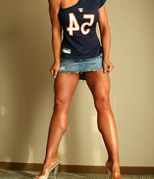 athletic female with finely sculpted legs