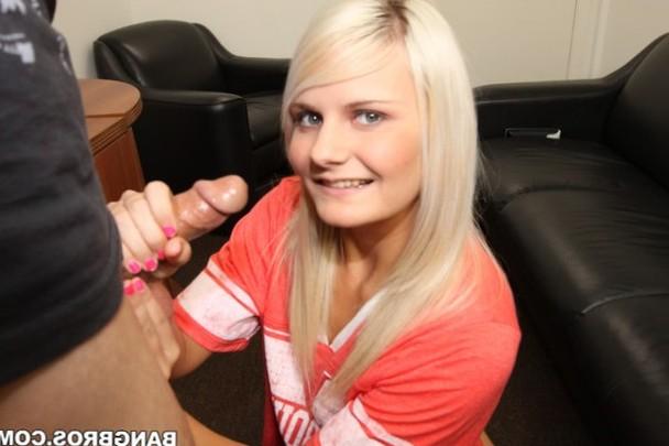 Blonde gives a hot handjob
